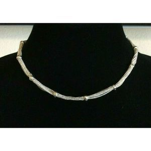 NWT Ann Klein Collar Necklace Multi Chain Silver